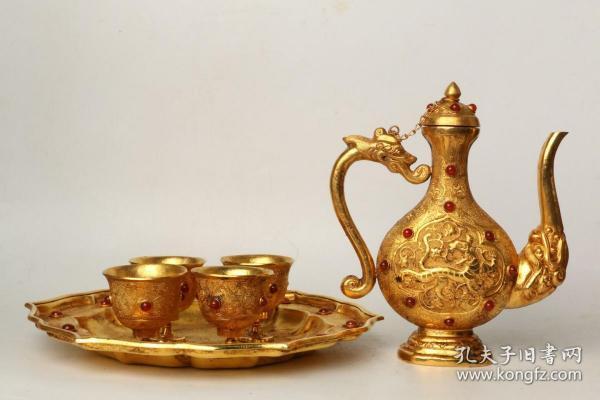旧藏 铜鎏金龙纹酒具一套