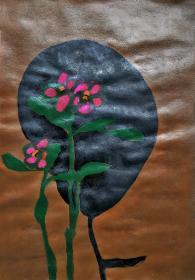 青年书画家胡子彩墨绘画作品《花红》
