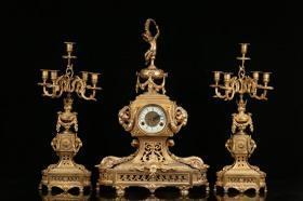 欧洲回流、百年铜鎏金双羊耳座钟