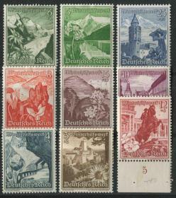 德国邮票 第三帝国 1938年 奥地利风光和花卉 雕刻版9全新贴混