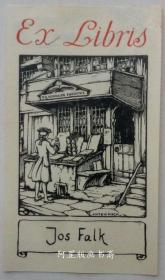 荷兰早期线刻版藏书票旧书店前的书摊