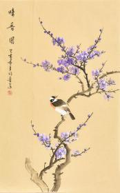 河南美术家协会会员许老师四尺三开花鸟画画gh04787