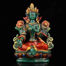 尼泊尔纯手工打造漆器彩绘描金绿度母一尊
