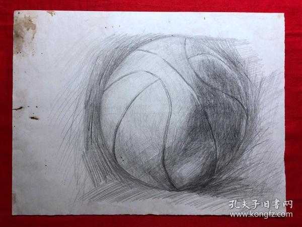 书画原作2875,巴蜀画派·名家【江溶】70年代素描画,篮球