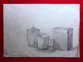 书画原作2878,巴蜀画派·名家【江溶】70年代素描画,水杯