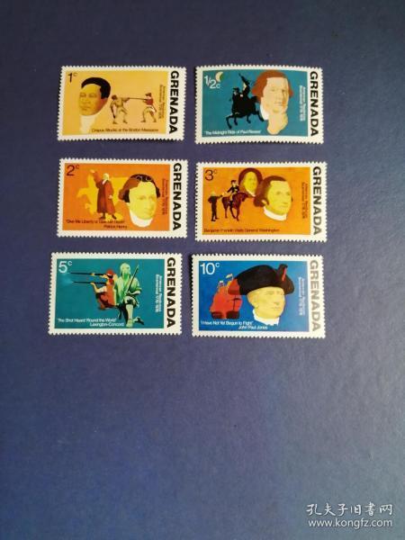 外国邮票 格林纳达邮票  1976年 美国独立200年 6枚(无邮戳新票)