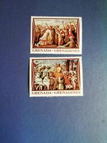 外国邮票 格林纳达邮票   1983 拉斐尔诞生500周年 绘画4全(无邮戳新票)