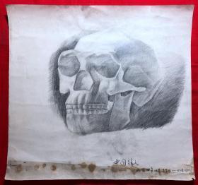 书画原作2882,巴蜀画派·名家【江溶】70年代素描画,中国猿人