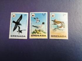 外国邮票 格林纳达邮票 鸟3枚(无邮戳新票)