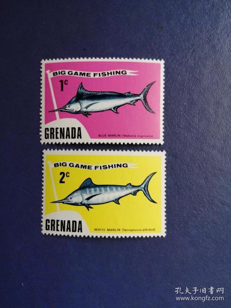 外国邮票 格林纳达邮票 鱼2枚(无邮戳新票)