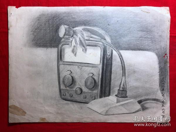 书画原作2886,巴蜀画派·名家【江溶】70年代素描画,收音机