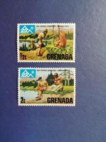 外国邮票 格林纳达邮票 1975童子军2枚(无邮戳新票)