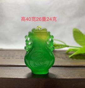 高冰帝王绿翡翠平安挂件,通透水头十足,种水色地具佳,用料厚重,全部完美无瑕疵