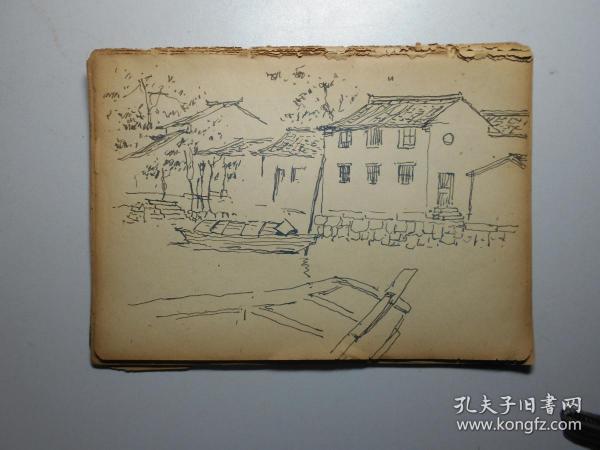 《苏州风光写生》 画家佚名 老速写本一册(使用22页,有虎丘、桂花树、永安桥等速写)