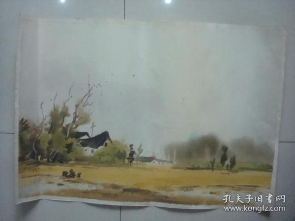 郑坤一手绘水彩画11.,约79*54厘米.时间不详..