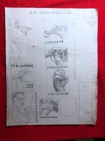 书画原作2864,巴蜀画派·名家【江溶】70年代素描画,拉小提琴的正确姿势和位置图