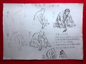 书画原作2866,巴蜀画派·名家【江溶】70年代素描画,人物速写.过程分析