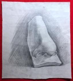 书画原作2879,巴蜀画派·名家【江溶】70年代素描画,石膏.鼻子