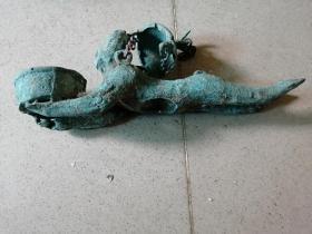 超大型老铜器铜人摆件长28厘米