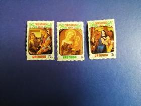 外国邮票 格林纳达邮票  1974年 圣诞节绘画3枚(无邮戳新票)