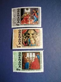 外国邮票 格林纳达邮票  1976年圣诞节3枚(无邮戳新票)