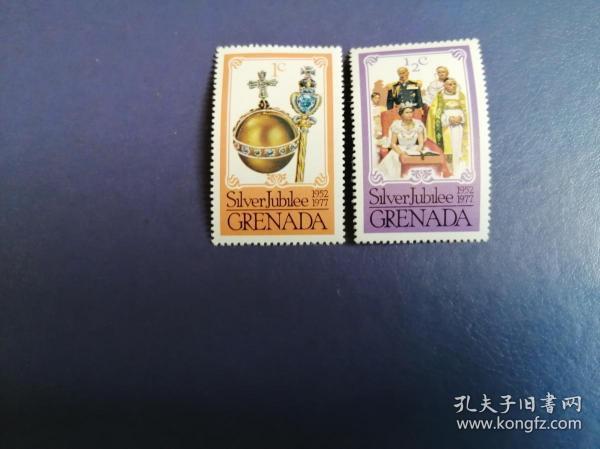 外国邮票 格林纳达邮票  1977年 女王登基25周年 2枚(无邮戳新票)