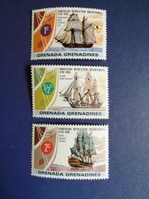 外国邮票 格林纳达邮票  1976年 帆船3枚(无邮戳新票)