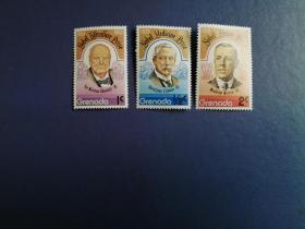 外国邮票 格林纳达邮票名人3枚(无邮戳新票)