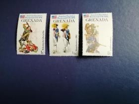 外国邮票 格林纳达邮票 1976年美国独立200周年3枚(无邮戳新票)