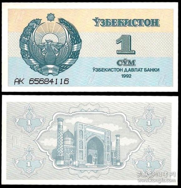 乌兹别克斯坦 1索姆纸币 1992年 外国钱币