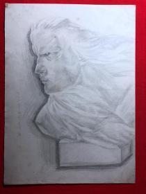 书画原作2889,巴蜀画派·名家【江溶】70年代素描画,肖像