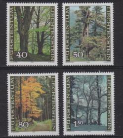 列支敦士登 1980 植物 森林 四季 春夏秋冬 雕刻版 4全新