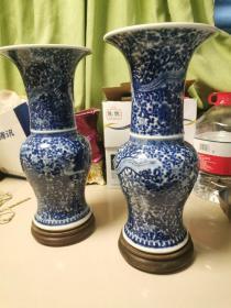 北京西四胡同淘书一起收的 清代青花瓷瓷器一对 上面凤凰图案 栩栩如生