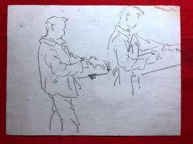 书画原作2867,巴蜀画派·名家【江溶】70年代素描画,人物速写