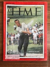 """【现货在国内、全国包顺丰、1-3天收到】1960年5月2日《时代》杂志,封面 """" Arnold Palmer / 阿诺德·丹尼尔·帕尔默 (美国职业高尔夫球手,曾获得过数十个PGA巡回赛及冠军巡回赛的冠军) """",含周恩来总理访问新德里并与印度总理尼赫鲁会谈报道一则(请见实物拍摄照片第2张),平装,102页,尺寸:28.50 乘以 21 厘米,珍贵历史参考资料!"""
