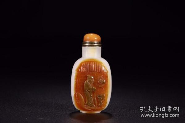 旧藏:玛瑙留皮巧雕福禄寿鼻烟壶