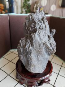新疆戈壁泥石山形奇石摆件(含底座)