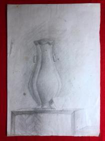 书画原作2876,巴蜀画派·名家【江溶】70年代素描画,花瓶
