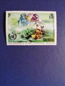 外国邮票 格林纳达邮票  1972年 世界气象组织 自动风暴检测仪(无邮戳新票)