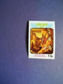 外国邮票 格林纳达邮票  1974年 圣诞节绘画(无邮戳新票)