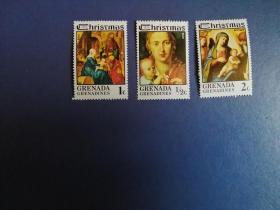 """外国邮票 格林纳达邮票  1975年 圣诞节""""圣母子 3枚(无邮戳新票)"""
