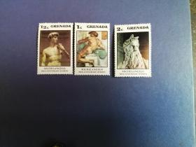 外国邮票 格林纳达邮票  绘画雕塑 3枚(无邮戳新票)