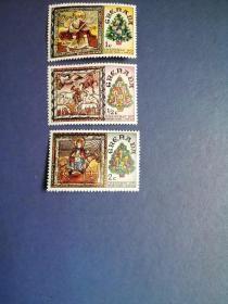 外国邮票 格林纳达邮票  1977年圣诞节 教堂壁画3枚(无邮戳新票)