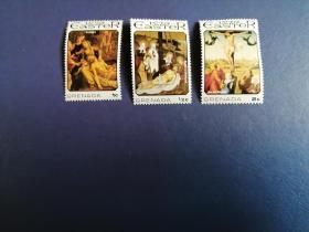 外国邮票 格林纳达邮票  1975年复活节绘画3枚(无邮戳新票)