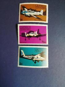 外国邮票 格林纳达邮票  飞机3枚(无邮戳新票)
