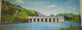 *FWP-少见巨幅布面风景老油画原作-万里长城景观图,超大幅画家全手绘,画面极美