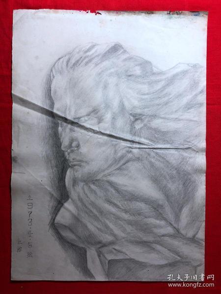 书画原作2887,巴蜀画派·名家【江溶】70年代素描画,肖像,有签名