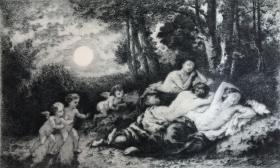 法国19世纪名家作品蚀刻铜版画 《睡着的仙女》—法国巴比松画派画家纳西斯·维尔吉利奥·迪亚兹(Narcisse Virgilio Díaz,1807 - 1876年)作品 法国Rives BFK版画专用水印纸 44.6*31.4厘米