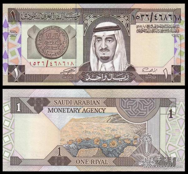 沙特阿拉伯 1里亚尔纸币 1984年 外国钱币