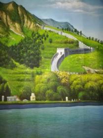 少见巨幅布面风景老油画原作-万里长城景观图,超大幅画家全手绘,画面极美